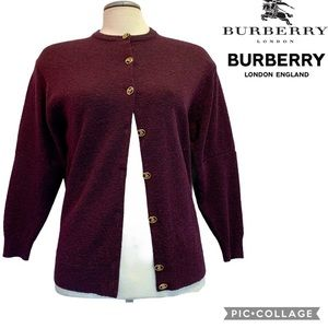 Vintage Burberrys Of London Maroon Wool Cardigan